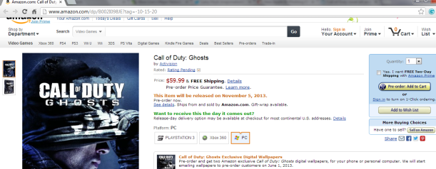 amazon cod ghosts  prerelease